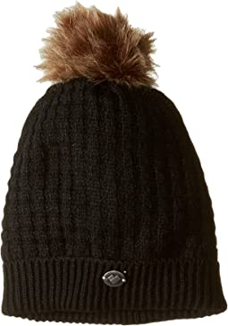 2e5363d695a Plush fleece lined faux fur pom pom hat black
