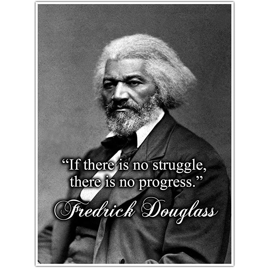 No Progress Without Struggle, Fredrick Douglass Quote Wall Art Poster