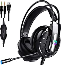 Proxima Direct Gaming Headset Headphone, headset with microphone&LED Light For Laptop Computer, PS4,Cellphone, 3.5mm Stereo Wired Over Ear Gaming Headset Comatible with PC/Laptop/Xbox 360/Xbox One