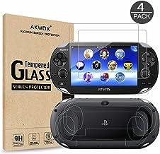 (4-بسته) محافظ صفحه نمایش برای Sony Playstation Vita 1000 با پوشش های پشتی ، محافظ صفحه جلویی شیشه ای Akwox 9H Tempered و محافظ صفحه نمایش پشتی HD Clear Crystal PET برای PS Vita PSV 1000