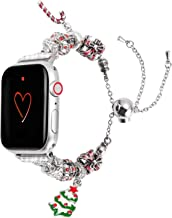 Wearlizer Compatible with Apple Watch Band 38mm 40mm Womens Christmas Elements for iWatch Handmade Wristband Unique Bracelet, Christmas-Tree-Crutch-Gifts Box Replacement Metal Strap Series 5 4 3 2 1