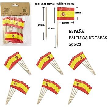 Compra NEW TORO 25Pcs Palillos de Tapas con Bandera de ESPAÑA 3.5 * 2.5cm Palo 8cm Largo en Amazon.es