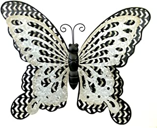 """Home & Garden Black/Silver Butterfly, 18.0"""", Metal, Wall Decor Outside, Outdoor Plaques and Wall Art, 31835629"""