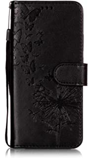 OMATENTI P20 Lite 用 PUレザー手帳型ケース, 色付きエンボスパターン 財布型 スタンド機能 マグネット 手作り ハンドメイド カード収納 全面保護 フリップ 人気 横開き スマートフォン カバー 対応 Huawei P20 Lite, 黒-タンポポ