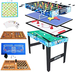 KAKIBLIN Multi Combo Entertainment Game Table with Hockey Table, Pool Table,Soccer Foosball Table, Table Tennis Table, Chess Set, Poker, Backgammon Set, Snake Ladder Set, Flying Chess,ect,Christmas