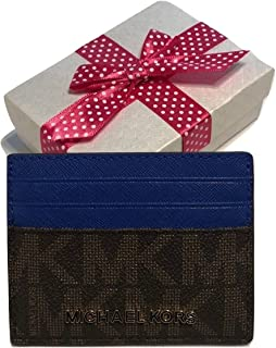Michael Kors Jet Set Travel LG Card Holder Case (Signature MK Brown/Electric Blue