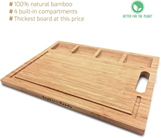 Sophie & Panda Organic Bamboo Cutting Board - Own a green life style and enjoy an organized cutting experience - chopping board with build-in trays and grooves - housewarming gift cutting boards