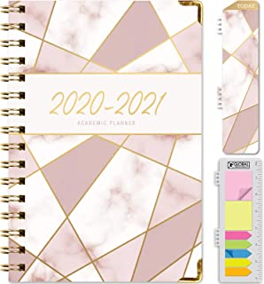 "HARDCOVER Academic Year 2020-2021 Planner: (June 2020 Through July 2021) 5.5""x8"" Daily Weekly Monthly Planner Yearly Agenda. Bonus Bookmark, Pocket Folder and Sticky Note Set (New Pink Triangles)"