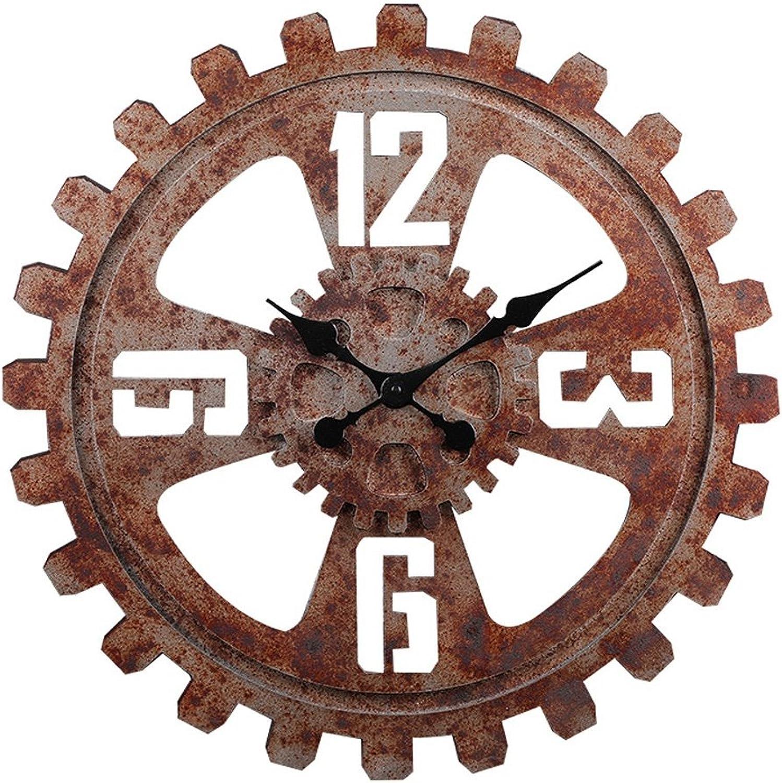 Relojes de parojo MEHE@ Diámetro 58 CM Madera rojoonda silenciosa Estadounidense Retro Industrial Viento Bar cafetería decoración del hogar (Color   rojo, Tamaño   58cm)