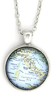 Italy Map Necklace Silver Tone NU69 Europe Vintage Pendant Fashion Jewelry