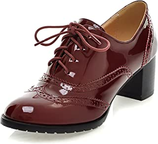 Odema Womens Patent Leather Oxfords Brogue Wingtip Lace Up Chunky High Heel Shoes Dress Pumps