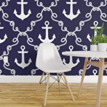 Spoonflower Peel and Stick Removable Wallpaper, Navy Blue Nautical Anchors Beach House Indigo Rope Sail Print, Self-Adhesive Wallpaper 24in x 36in Roll
