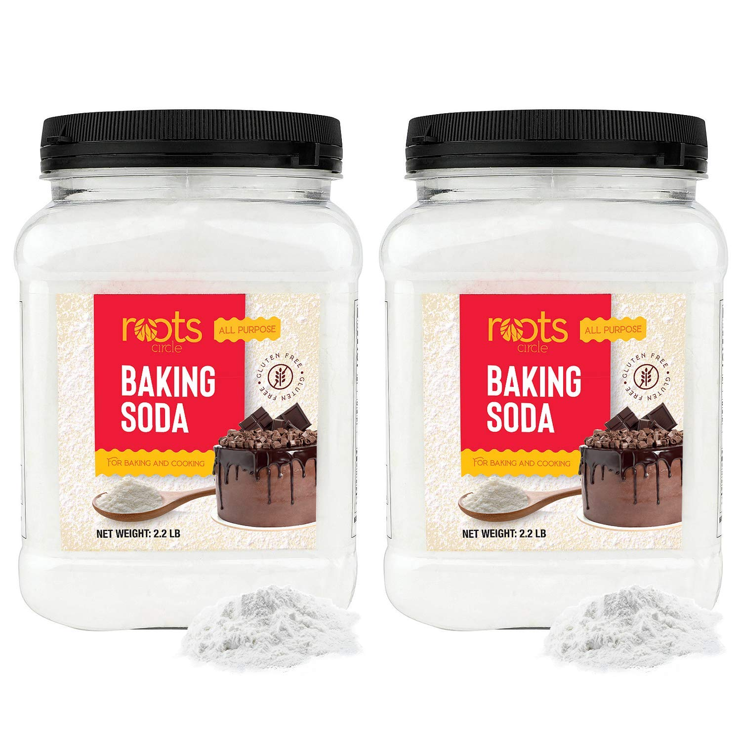 Roots Circle Baking Soda | Bulk Pack 2 35oz Airtight Containers | Gluten-Free All-Purpose Sodium Bicarbonate for Cooking & Baking | All-Natural Cleaning Agent & Deodorizer for Fridge, Carpet, Laundry