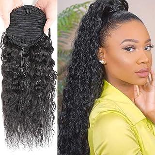 Corn Wave Human Hair Drawstring Ponytail Extension Afro Curly Ponytail for Black Women Wrap Drawstring Ponytail Hairpiece ...