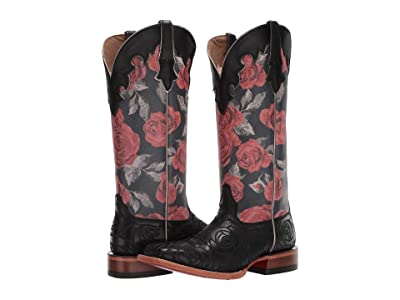 Ariat Fonda (Black Rose/Vintage Rose Print) Cowboy Boots