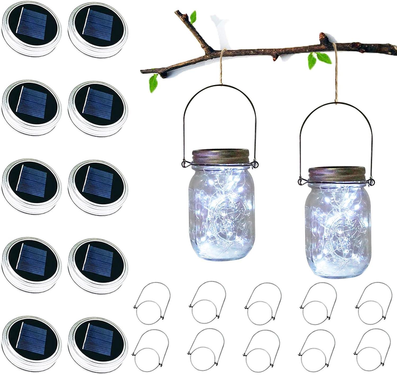 Solar Mason Jar Lights, LoveNite 10 Pack 30 LED Solar Hanging Jar Lid Lights, Table Fairy String Lights Solar Lanterns with Hangers(No Jars) for Patio, Garden, Lawn, Yard Outdoor Decor (Cool White)