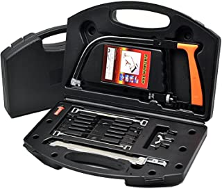 12Pcs Multifunction Handheld Hacksaw Set with 8 Steel Saw Blades Adjustable Frame Manual Hand Tool Set for Cutting Wood, P...