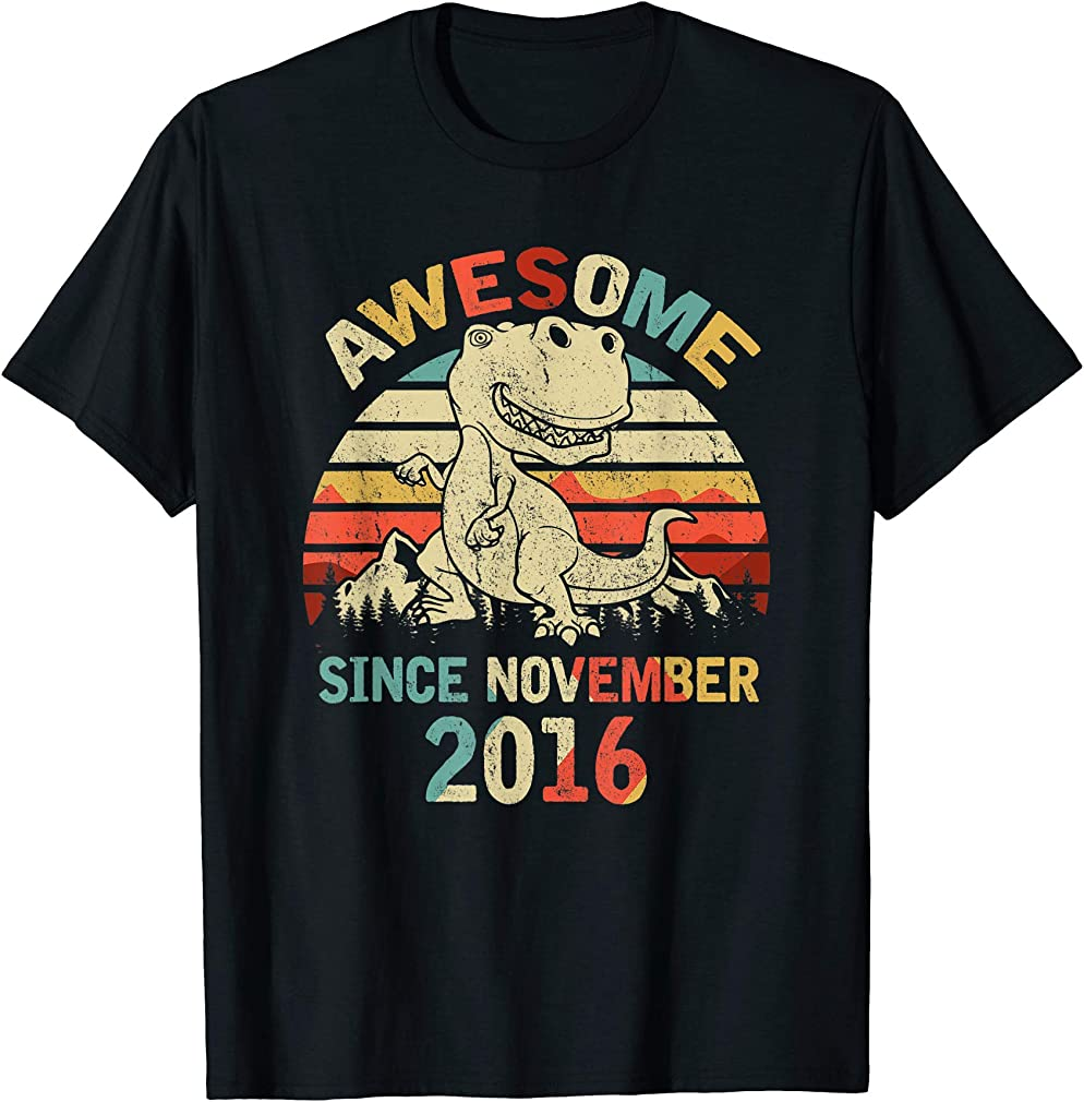 Awesome Since November 2016 3rd Dinosaur Birthday T-shirt