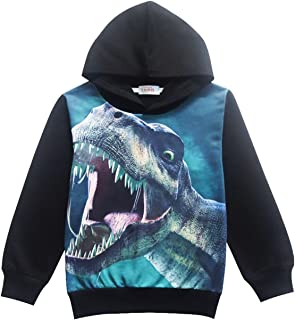 Boys Toddler Hoodie Dinosaur Cool Trendy Tshirt Hot Tops Long Sleeve Sweatshirt for Kids 4 5 6 7 8 T