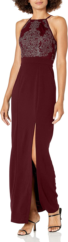 Speechless Women's Full Length Maxi Dress with Beaded Bodice