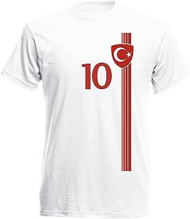 Turquía Türkiye–Camiseta para Hombre Número 10Camiseta de fútbol Mini EM 2016–Camiseta S M L XL XXL–Blanco NC St 1