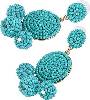 Tbestmax Fashion Statement Drop Earrings for Women Dangle Beaded Earring Hoop Ear Ring Round Whimsical Handmade Light Blue