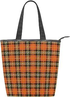 ISAOA Große Einkaufstasche aus Segeltuch, Orange Buffalo Plaid Handtasche Strand Tote Bag für Mädchen Frauen