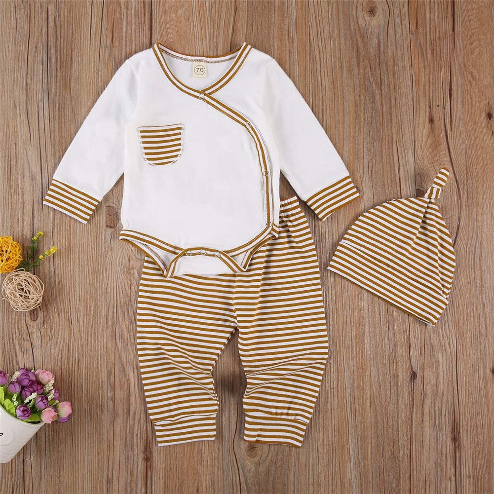 Newborn Baby Boy Girl Spring Fall Clothes Long Sleeve Romper Top Drawstring Striped Pants Hat 3Pcs Casual Oufits