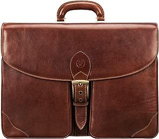 Maxwell Scott Smart Italian Leather Large Briefcase - Tomacelli Tan