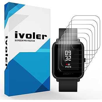 iVoler [6 Pack] Pellicola Protettiva per Huami Amazfit Bip/Huami Amazfit Bip Lite, Wet Applied Protezione Schermo [Bubble-Free-Riutilizzabile] HD Clear Film in TPU