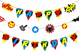 BeYumi Superhero Inspired Birthday Banner, Colorful Bunting Party Decorations for Boys and Kids Birthday Party