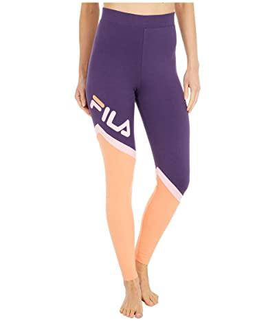 Fila Roxy Cut Sew Leggings (Gothic Grape/Cadmium Orange/Candy Pink) Women