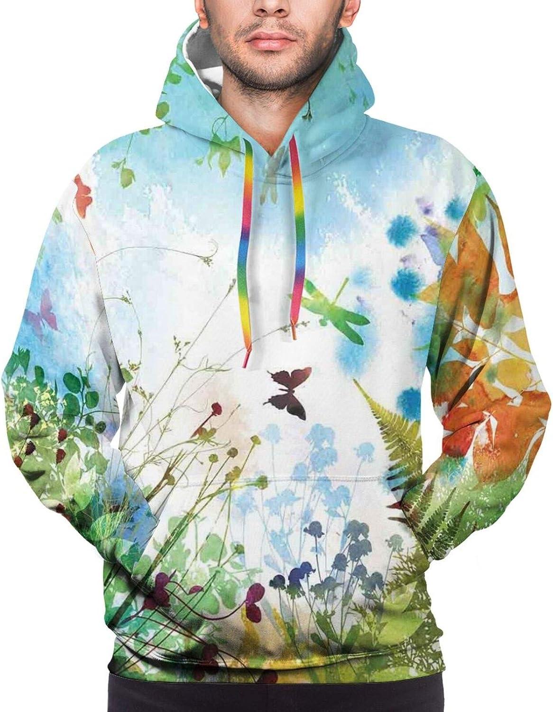 TENJONE Men's Hoodies Sweatshirts,Feminine Romantic Look Watercolor Look Roses and Leaves