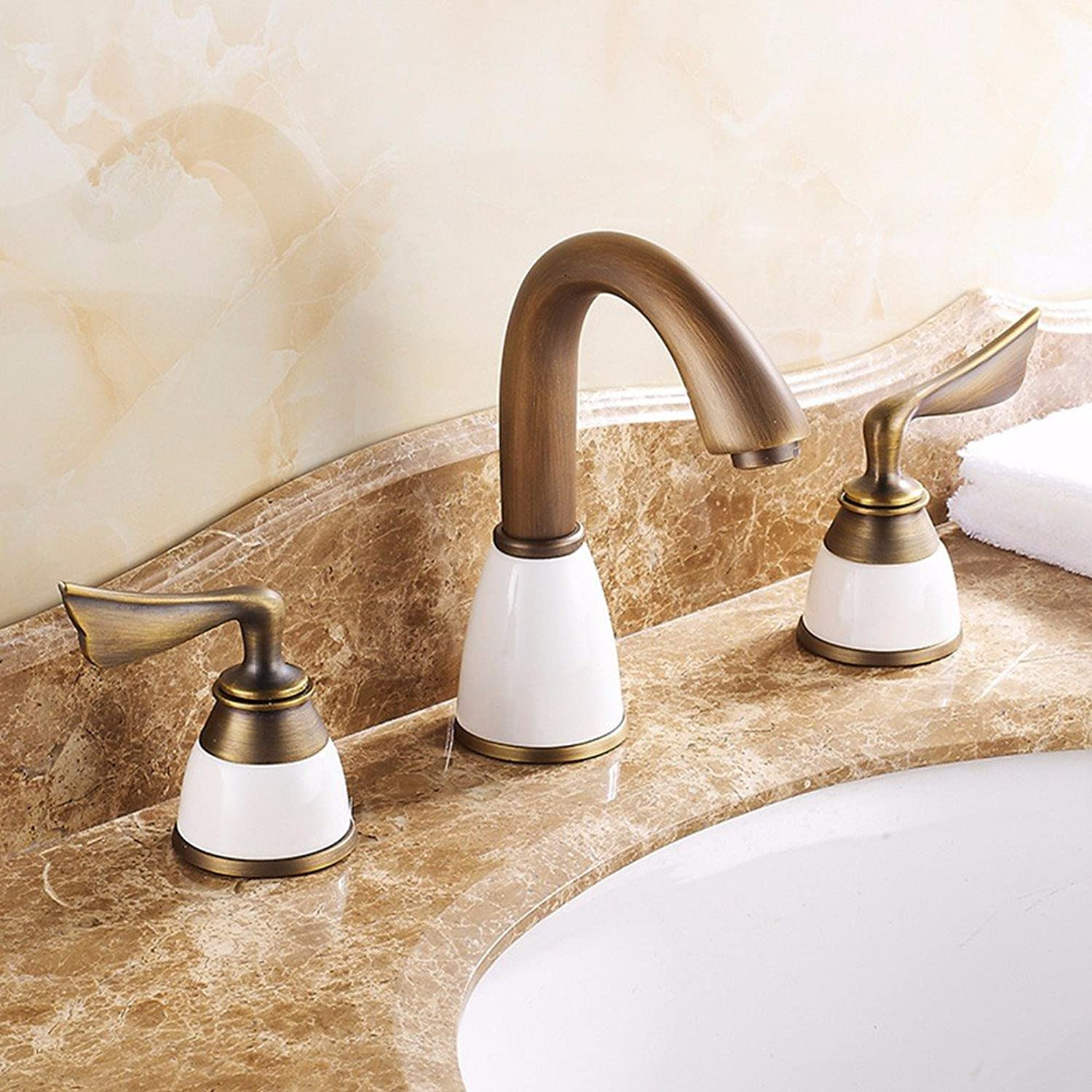 USDFJN Faucet Kitchen Bathroomthe Three Holes In The Copper-Plated