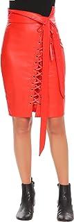 تنورة رفيعة للنساء من Zeagoo مصنوعة من الجلد عالي الخصر تنانير متوسطة الطول مع سحاب حزام ورباط