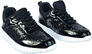 SF Forever Link Remy-18 Women's Jogger Sneaker-Lightweight Glitter Quilted Lace Up Shoes New (11 B(M) US, Black-28
