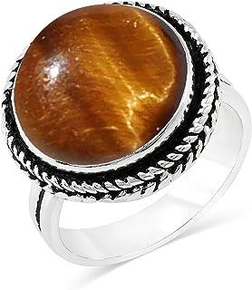 MIRRAMOR Anillo de amatista natural de 14 mm, forma redonda, anillos solitarios para mujeres, mamá, esposa