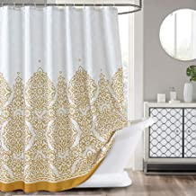 LanMeng Elegance Luxury Extra Long Fabric Shower Curtain for Bathroom, Classic Charm European Pattern, Gold, Waterproof Machine Washable, 72-by-78 inches