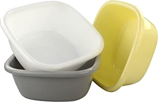 "Morcte 12 Quart Plastic Wash Basin, 3-Pack, 13.22"" x 13.22"" x 5.29"""