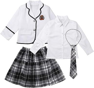 inhzoy Disfraz de Escolar Japónes para Niña Chica Uniforme de Colegiala Chaqueta Blusa Falda de Escuela Estilo Coreano Cosplay Anime Fiesta Halloween