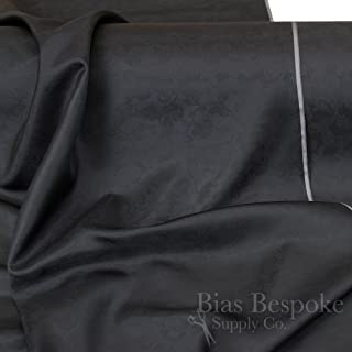 Abramo 100% Cupro Bemberg Black Jacquard Lining, by The Yard, Made in Italy
