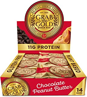 Snack Bars by Grab The Gold - Organic, Gluten Free, Vegan, Kosher, & Dairy Free - 11g of Protein – Chocolate Peanut Butter (14 Count)