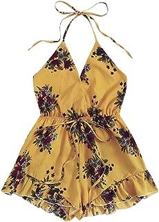 Romwe Women's Summer Casual Sleeveless Drawstring Waist Ruffle Hem Halter Rompers Outfits Short Jumpsuits