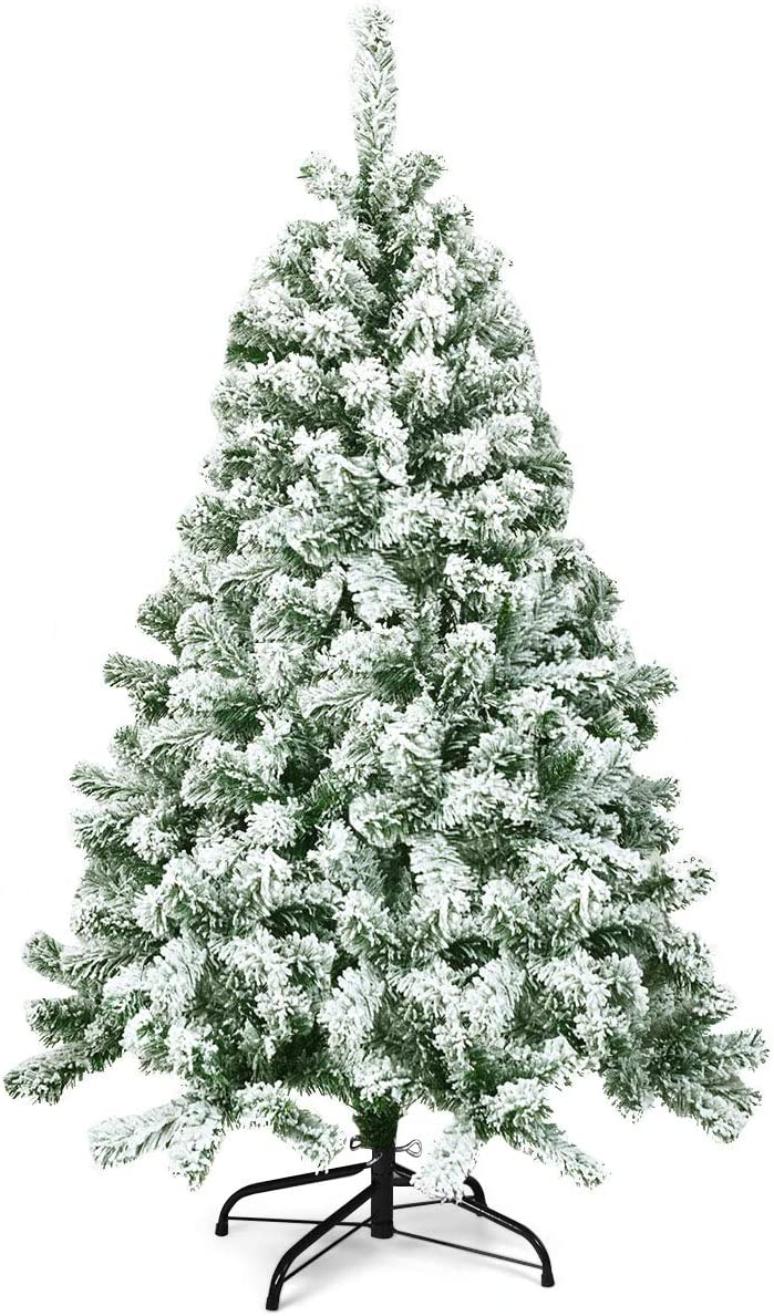 Goplus 4.5FT Snow Flocked Christmas Sales for sale Rapid rise Tree Pine Artificial Hinged