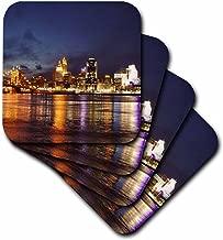 3dRose cst_61681_1 Cincinnati Skyline at Night-Soft Coasters, Set of 4