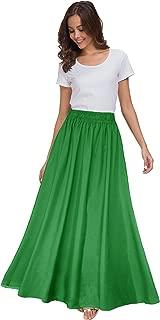 Women's Chiffon Retro Maxi Skirt Vintage Ankle-Length Skirts
