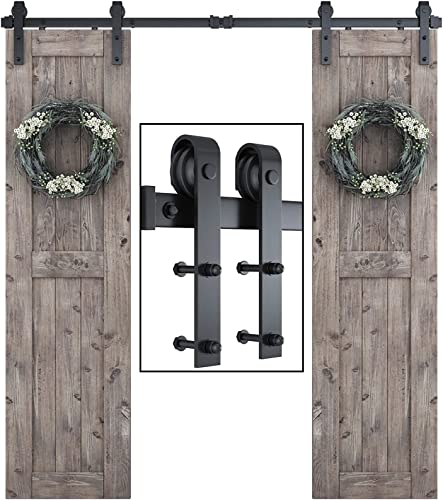 """wholesale SMARTSTANDARD 6.6ft sale One-Piece Track Double Door Sliding Barn Door Hardware Kit-Smoothly and Quietly-Easy to Install-Includes Step-by-Step Instruction 2021 Fit 18""""-20"""" Wide Door Panel (J Shape Hanger) online"""