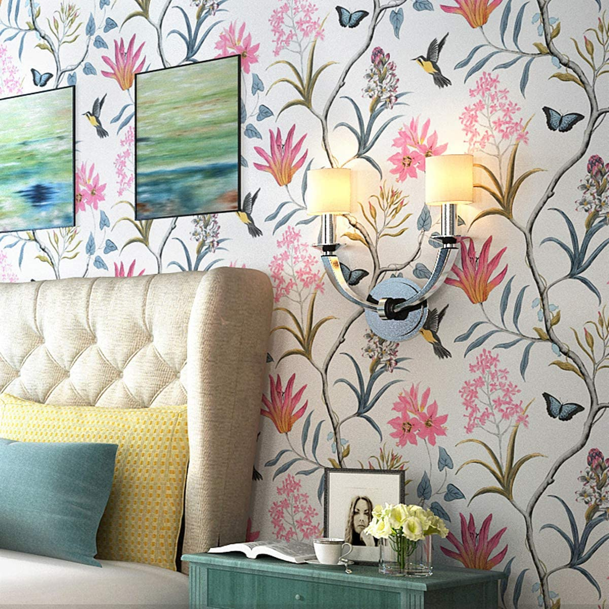 LIKE SHOP Wallpaper roll Vintage Birds Super intense SALE Fresh New popularity Floral 1.