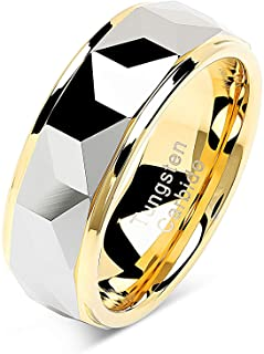 100S JEWELRY Tungsten Rings for Men Women Wedding Band Polished Facet Cut Gold Step Edge Sizes 6-16
