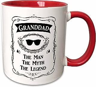 3dRose 232460_5 Granddad The Man The Myth The Legend funny grandpa grandfather gift Ceramic Mug 11oz Red/White